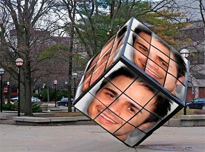 Fotomontaje en un cubo de rubik