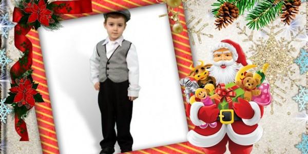 Navidad Marco para foto con papa noel