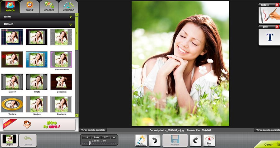 Aplicación retocar fotos