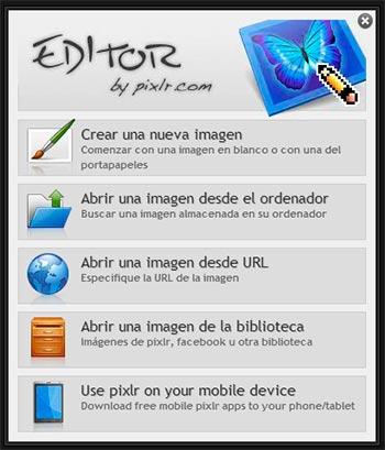 Cargar fotografía en Pixlr