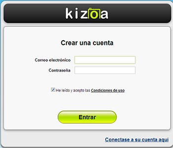 Crear cuenta de Kizoa