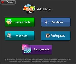 Opciones para subir las fotos