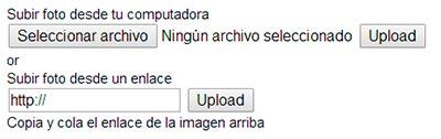 Tienes dos opciones para cargar tu foto, desde el ordenador o colocando la URL